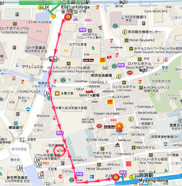 Koreainfo-明洞本店-アクセス-周辺Map